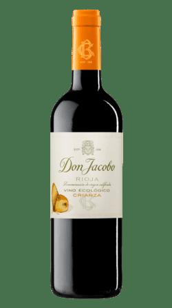 Botella del vino ecológico Don Jacobo Tempranillo Crianza.