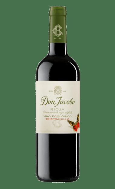 Botella del vino tinto ecológico y vegano Don Jacobo. Vino de la Rioja.