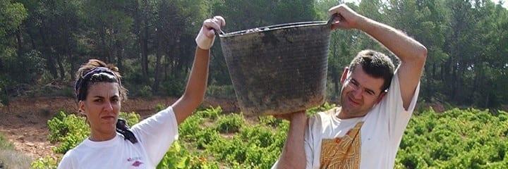 Rafa y Silvia de Vino Sexto Elemento durante la vendimia